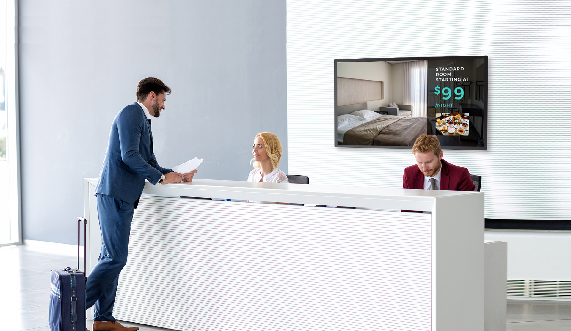 hotel advertising display in reception